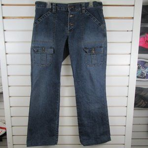 Old Navy stretchy button fly blue jeans women's 12